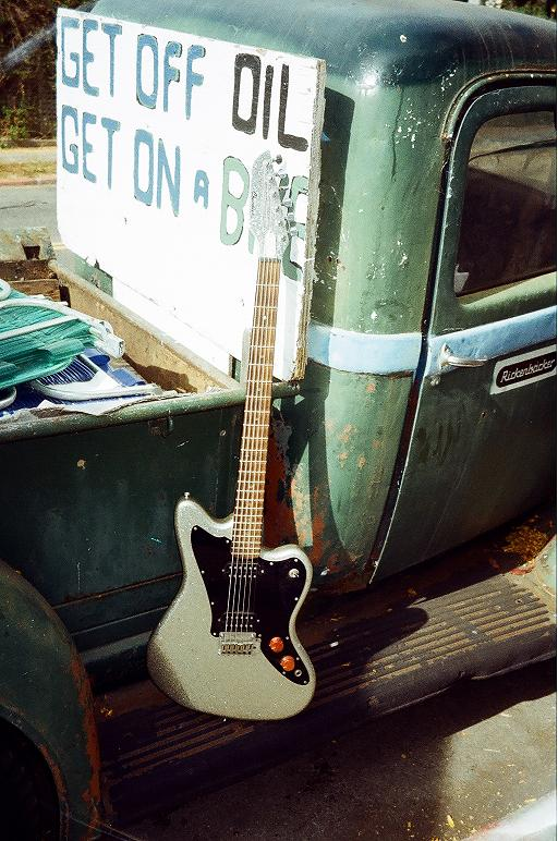 "Silver glitter Baritone, 30"" scale, Paul Chandler neck, $700"