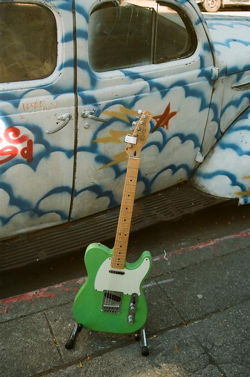Bill Kirchen style tele, neon-snot-green on mint $325