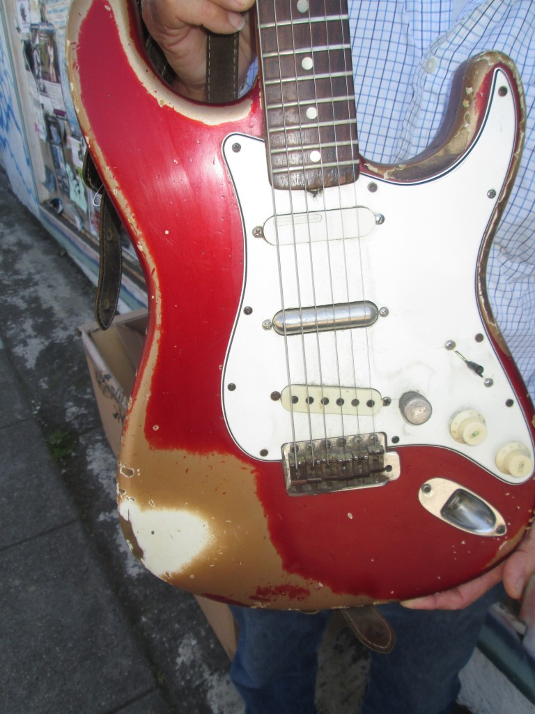 1965 Fender Strat candy apple red worn, comes w' original pickups $28K