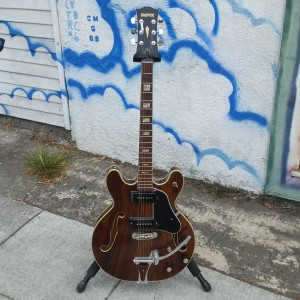 "1970 Univox rosewood double cut hollow like ""Gibson rosewood crest"" P-90 type PV"