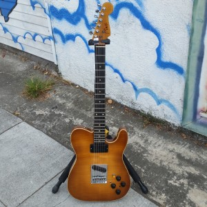 T. Smith custom flame body with birding hot rail Humbucker in neck  $750