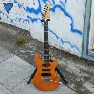 Subway custom stratford USA G&L Body circa 1980 22 fret neck ebony fret board 2 stat pickups with P-90 pickup in bridge phaze reversal push pull pot for middle pickup $400