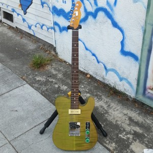 Subway Custom Baritone USA Fender corona tele body with flame cap P-90 tele pickups  $800