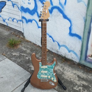 Subway Guitars strat copper tone with green pearl pickgard $275