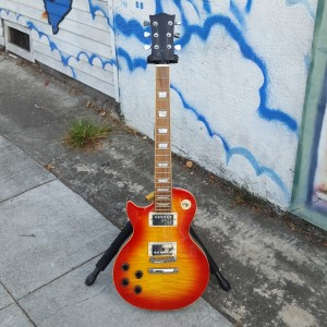 Lefty Les Paul cherry sunburst flame maple top
