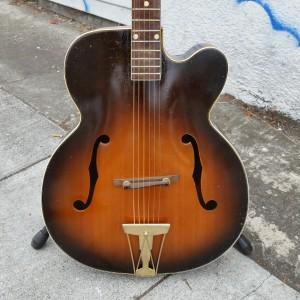 "Big Kay jazz guitar like ""Gibson cutaway L-7"" reset straight neck. pickup optional gold hardware $800"