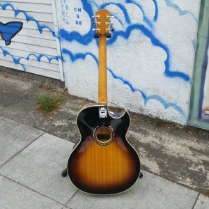 Typical crazy Subway thang made for Joseph Modeliste (Ziggy) 1960 coral Vinnie Belle body like Epiphone Heward Roberts. when joe wanted a lefty we turned it over