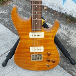 Custom subway baritone incredible flame body by zion villocette neck 2 P-90 pickups $900