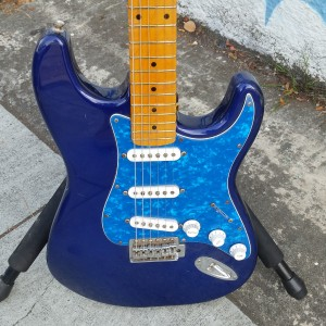 Subway set neck deep blue strat with blue crushed pearl pickgards $300