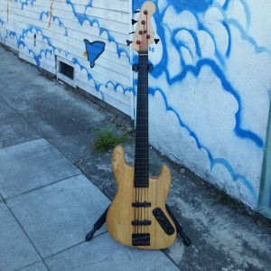 Fretless Odin bass 5 string ebony warmoth neck Alembic pickups Bartolini preamp $900