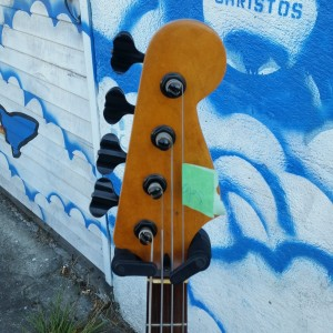Subway jizzblaster bass styled like 63 Danelectro large scale bass although a Fender neck - 2 tubes with series parallel + phaze reverse push pull pots $600