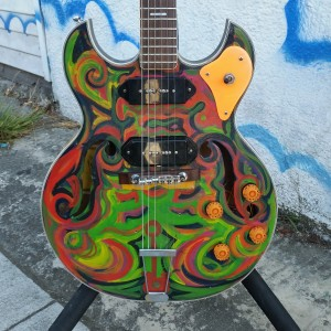 Psychedelic hippy guitar like Gibson ES-330 made in Japan circa 1970 good gears and bridge $350